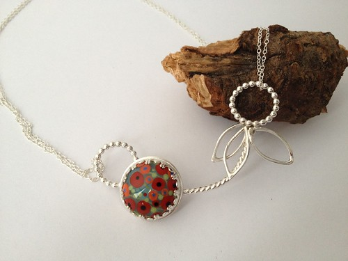 Sterling silver poppy fields necklace by Eve smith,silvermeadows.