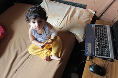 The Little Shahenshah In Our House is a Laptop Freak by firoze shakir photographerno1