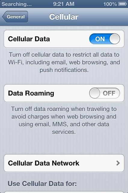 Cellular Data 設定會不見