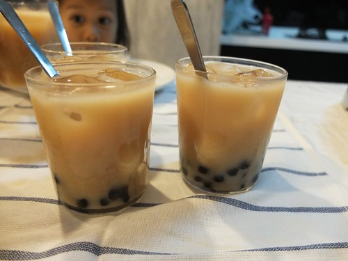 homemade honey milk tea with pearl!