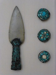 Jade Spearhead with Turquoise Inlaid Bronze Fittings