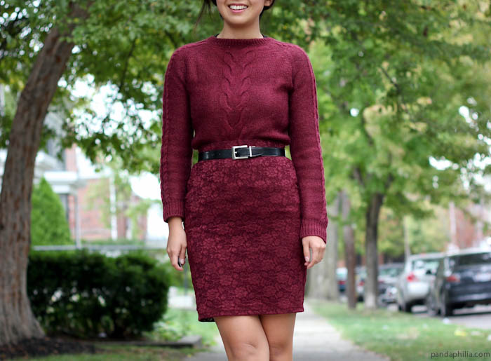 burgundy sweater and lace skirt