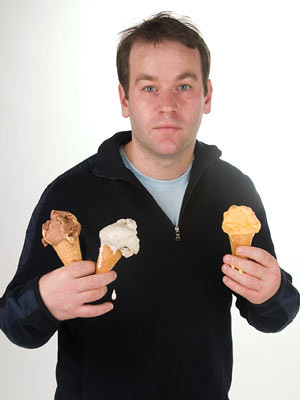 Mike Birbiglia holding ice cream