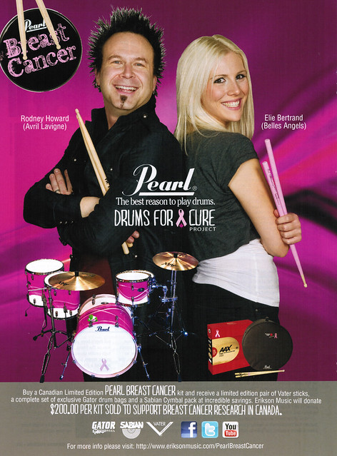 Canadian Musician Magazine ad for Pearl's Drum For Cure with Rodney Howard