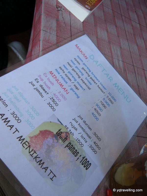 Warung menu
