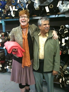 Melinda with her magnificent persimmon wool-cotton coating fabric and Sultan, amused by us (I hope!)