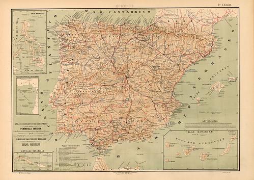 015-Peninsula Iberica-Atlas geográfico descriptivo de la Península Ibérica-Emilio Valverde-1880