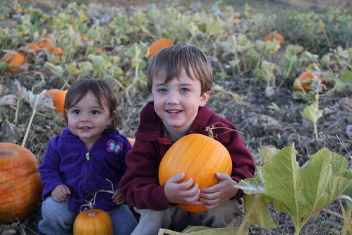 The two kids in the pumpkins 5