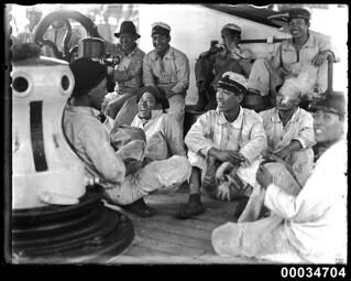 Japanese sailors probably on board naval vessel TAISEI MARU, 1906-1934