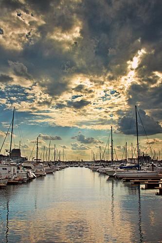 street city boston clouds marina river harbor maryland baltimore anchorage sailboats patapsco