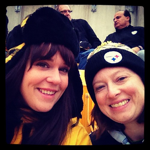 At the #steelers game with @lolabolt. I look approximately as tired as I feel.