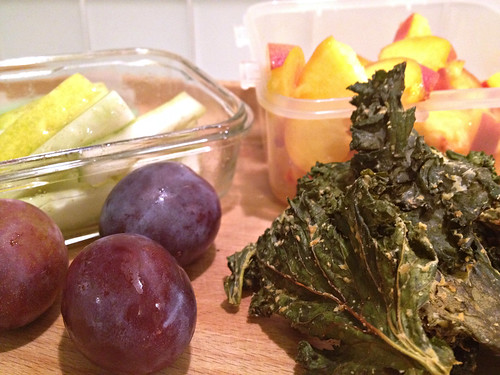Plums, peach, kale chips