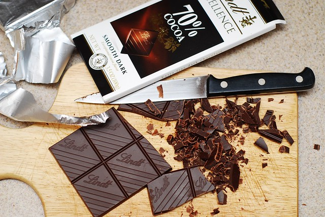 slicing chocolate bar
