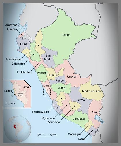 Mapa Regiones del Perú.