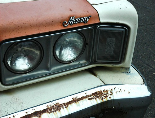 Crazy 'bout my Mercury, car detail, lights, decoration, rusted bumper, Seattle, Washington, USA by Wonderlane