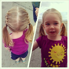 Aunt Bethany did Aurora's hair this morning.
