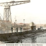 Feb. 1914: HMAS AE1 at Devonshire Dock, Barrow-in-Furness soon after completion - RAN SeapowerCentre.