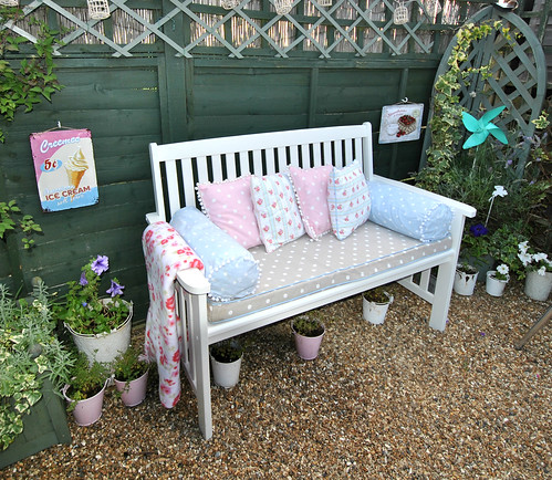 My garden bench with hand made cushions