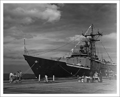 naval ship, vehicle, ship, submarine chaser, minelayer, monochrome photography, watercraft, guided missile destroyer, black-and-white, flagship, light cruiser,