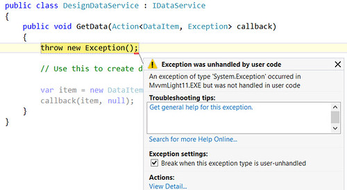 Exception in DataService