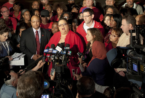 Chicago Teachers Union President Karen Lewis anounced to the media that the 25,000-member organization would strike on September 10, 2012. Thousands of teachers are their supporters marched through downtown. by Pan-African News Wire File Photos