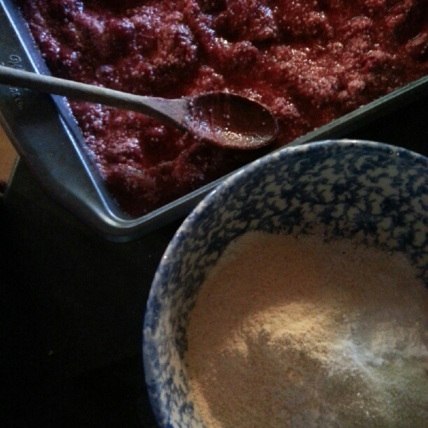 #nofilter #dessert Makings of strawberry rhubarb cobbler: