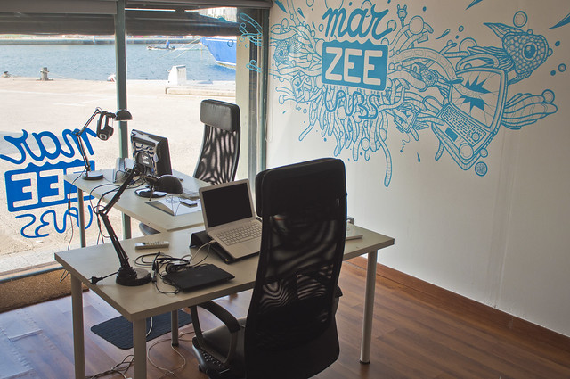 Marzee Labs Office. Office mural and logo on the front window