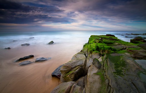 longexposure clouds sunrise moss rocks australia newcastlesouthbeach