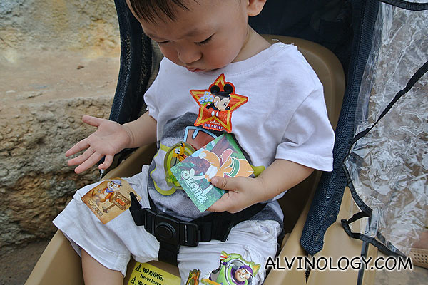 Asher got very good at cheating Disney stickers from Disneyland staff during the trip