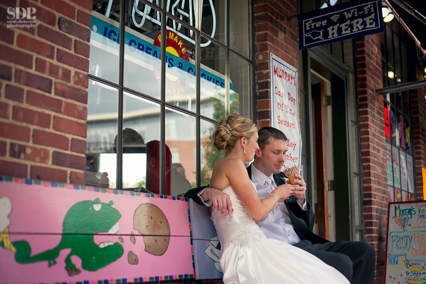 Ice cream shop wedding photos