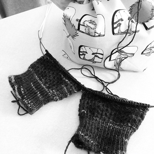 Lorri, progress on your socks! Shown in black and white so the color will be a surprise (I don't remember who I learned this idea from, but thank you!) @massivelorri #sockknitting #iloveagoodwip