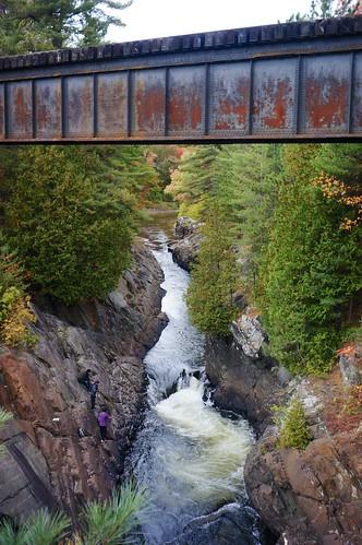 railroad bridge water waterfall gorge sonynex5n industar6928mmf28russianlens vacationeasternlakes2012nex