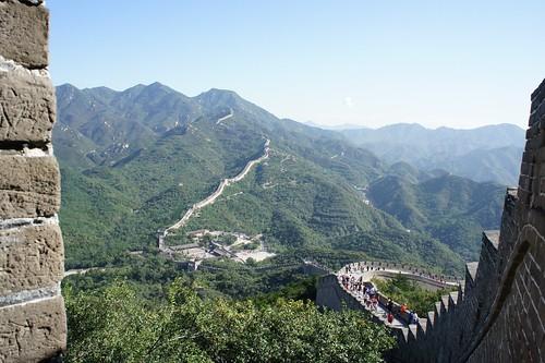 城壁を境に右が北京方面、左がモンゴル方面