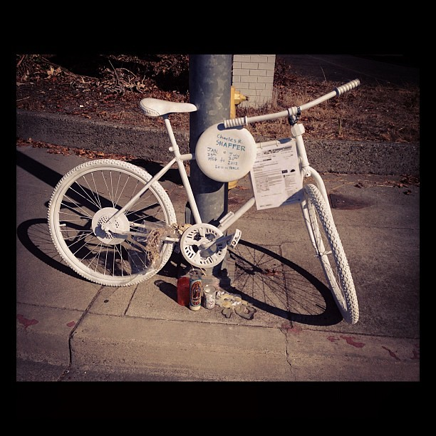 Ghost bike installed on Campbell Ave.