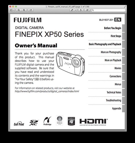 Fujifilm XP50 Manual