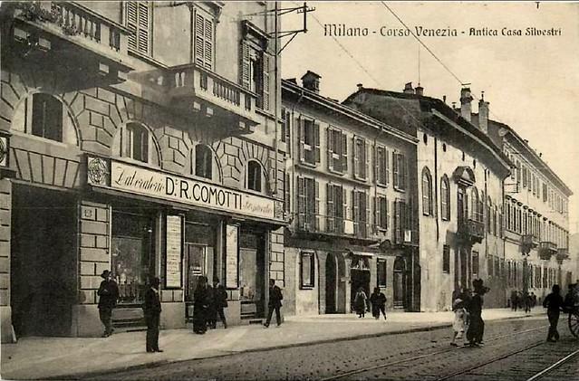 Corso Venezia, 1905 circa- da sinistra, i Palazzi Silvestri, Fontana e Arese