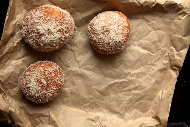 chocolate filled vanilla sugar doughnuts