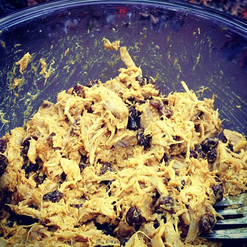 Holy hell. I made food without a recipe and it's SO FUCKING GOOD. Curried chicken salad: chicken from a whole one (bone broth still stewing), mayo, raisins, curry powder, honey, salt. Not sure I'll have it in me to share with Justin. But thank goodness Ze