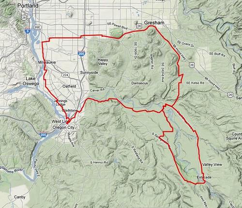 The route of the Estacada 100