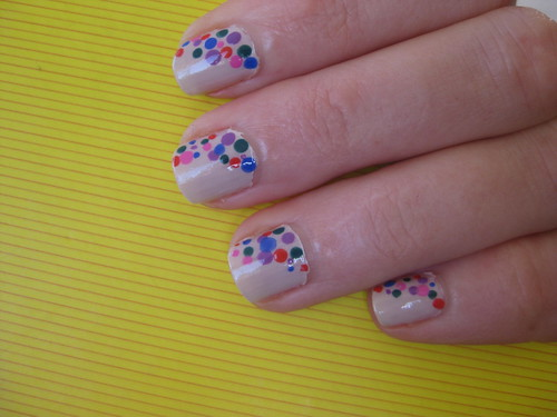 Nails multi coloured spots