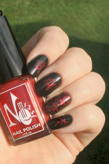 Red & Black Kanji Nails (Bundle Monster)