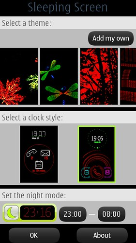 Nokia Sleeping Screen settings
