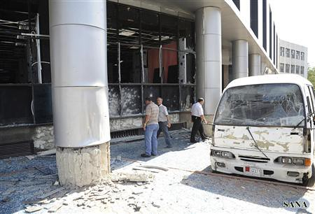 Impact of bomb blast at a Syrian Air Force Intelligence building. The US-backed opposition is escalating its attacks on the Assad government. by Pan-African News Wire File Photos