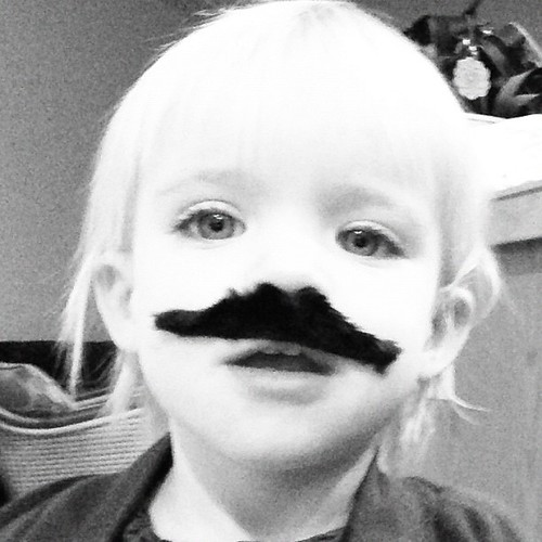 She brought me this and HAD to have it on all morning long while we got ready #momentswithfifi #mustache #morning #shuttersisters