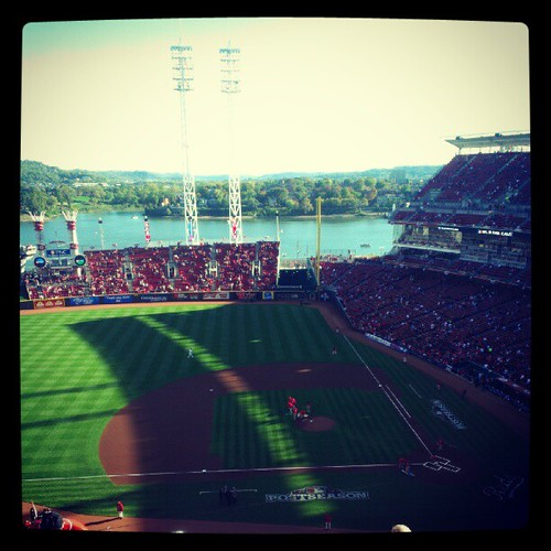 The view from our seats for game three of the NLDS #Reds vs. #Giants. #postseason #RedsOctober