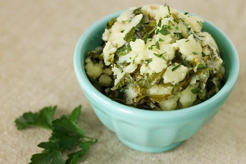 Garlic Olive Oil Mashed Potatoes with Kale
