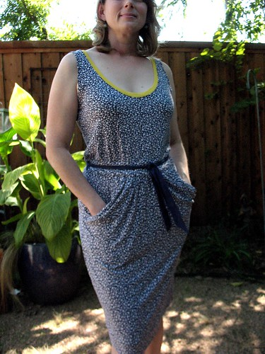 Self Drafted Knit dress with draped pockets