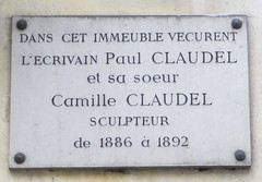Photo of Paul Claudel and Camille Claudel white plaque
