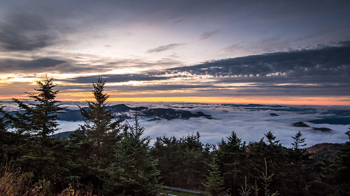 sunset mountains fog clouds forest landscape asheville northcarolina mtmitchell