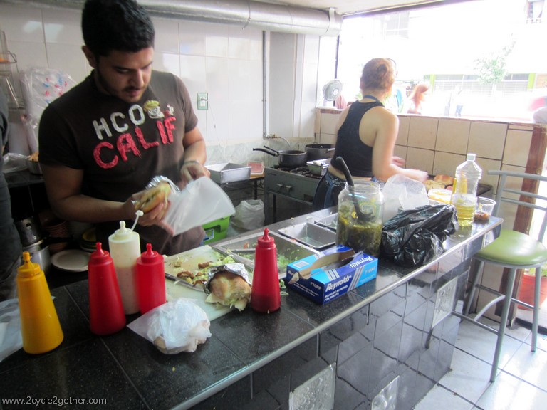 Picking up sandwiches, Guadalajara